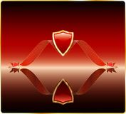 Red shield with mirror. Vector red shield on the mirror Stock Image