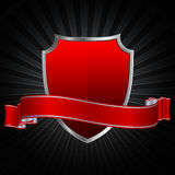 Red shield and red ribbon. Stock Photography