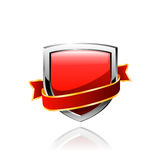 Red shield and red ribbon. Vector Royalty Free Stock Image