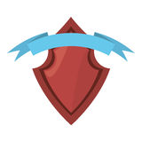 red shield security ribbon label Royalty Free Stock Image