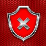 Red shield sign. Decline 3d symbol on red perforated background. Vector illustration vector illustration