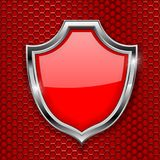 Red shield sign. Decline 3d symbol on red perforated background. Vector illustration stock illustration
