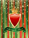 Red shield stars. Vector blank holiday background with red shield Stock Photos
