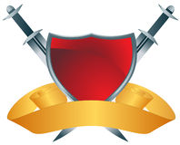 Red Shield with Swords Stock Images