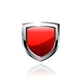 Red shield vector icon. Royalty Free Stock Photo