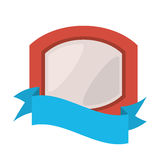 Red shield with white background and blue ribbon. Illustration eps 10 royalty free illustration