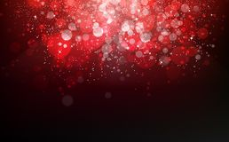 Red shimmer stars falling confetti magic celebration festival, dust, glowing particles scatter glitter blinking christmas award royalty free illustration