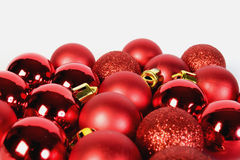 Red shine. Of small christmas globes Stock Photos
