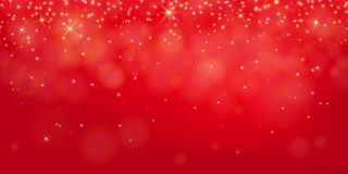 Red shine background. Abstract elegant shining bokeh concept. Gold lights, glowing particles, fog backdrop. Vector illustration Stock Photos