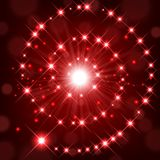 Red shine with sparkle forming spiral background Stock Image