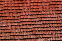Red shingle roof made of wood Stock Image
