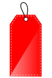 Red Shining Blank Tag, Isolated On White Stock Photos