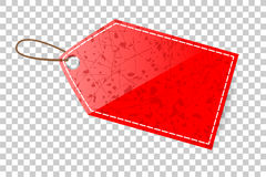 Red Shining Blank Tag, With White List, At Transparent Effect Background Stock Images