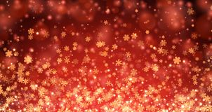Red winter background with snowflakes. Red shining bokeh winter background with snowflakes. Vector illustration Royalty Free Stock Image