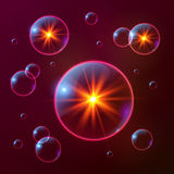 Red shining cosmic bubbles with orange lights Royalty Free Stock Images