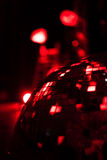 Red shining discoball mirrorball in motion Royalty Free Stock Image