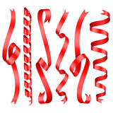 Red shining rolled vertical vector ribbons with copy space Royalty Free Stock Image