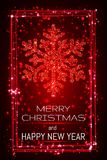 Red shining snoweflaces with frame, marry christmas and happy new year greeting card Royalty Free Stock Photography