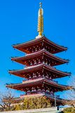 Shinto Pagoda. A red shinto pagoda against a clear blue sky Royalty Free Stock Image