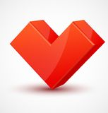 Red shiny 3d cubic heart Royalty Free Stock Photo