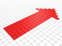 Red shiny arrow on white surface Royalty Free Stock Photo