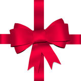 Red shiny bow with ribbon Royalty Free Stock Photography