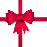 Red shiny bow with ribbon Stock Photography