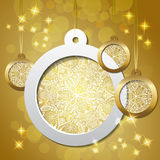 Red shiny christmas background with lace bauble. Gold shiny christmas background with lace bauble Vector Illustration