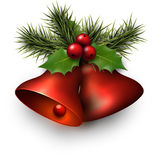 Red shiny christmas bells. With holly berries. Vector illustration Stock Photo