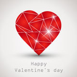 Red shiny crystalline heart Stock Photos