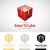 Red Shiny 3d Cube Logo Icon. Vector Illustration Stock Photo