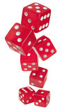 Red shiny dices on white background Royalty Free Stock Photos