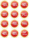 Red shiny discount tags Stock Photo
