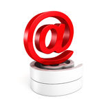 Red shiny at e-mail symbol on white Stock Image