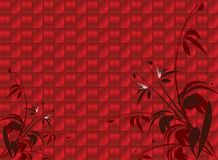 Red shiny floral background. With open area in top left vector illustration