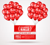 Red Shiny Flying Balloons with Sale Banner Royalty Free Stock Photography