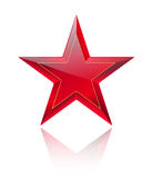 Red shiny and glossy red star on white with reflection Stock Images