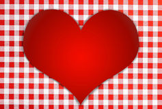 Red shiny heart against red and white checkered background. Bavarian style vector illustration