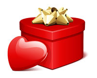 Red shiny heart gift with heart present Stock Photos