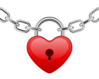 Red shiny heart lock shape on chain Stock Images