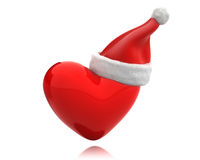 Red shiny heart with santa hat isolated Stock Image