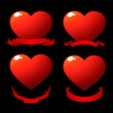 Red shiny hearts. With scrolls over black Royalty Free Stock Photos