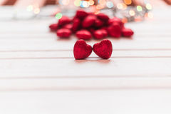Red shiny hearts Stock Images
