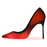 Red shiny heel. Vector, shoe Stock Photo