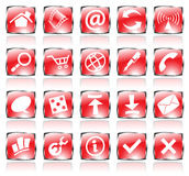 Red shiny icons. Red glossy web icons with metallic frames Royalty Free Stock Image