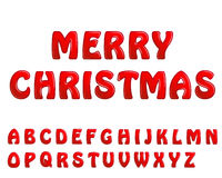 Red shiny letters holiday fonts merry christmas Royalty Free Stock Photos