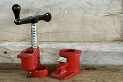 Red shiny pipe cutter set royalty free stock image