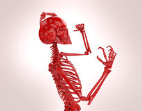 Red shiny plastic skeleton in big earphones posing isolated on light background. rendering party poster template Royalty Free Stock Images