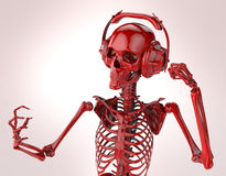 Red shiny plastic skeleton in big earphones posing isolated on light background. rendering party poster template Royalty Free Stock Image