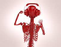 Red shiny plastic skeleton in big earphones posing isolated on light background. rendering party poster template Stock Image